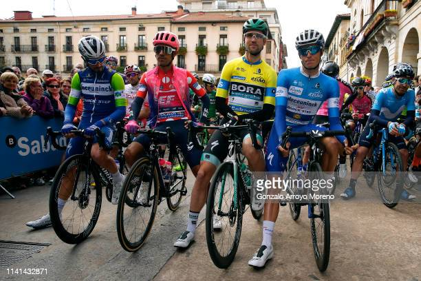 Start / Julian Alaphilippe of France and Team Deceuninck QuickStep Green Points Jersey / Daniel Felipe Martinez Poveda of Colombia and Team EF...