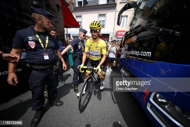 Start / Julian Alaphilippe of France and Team Deceuninck - Quick-Step Yellow Leader Jersey / during the 106th Tour de France 2019, Stage 14 a 117km...