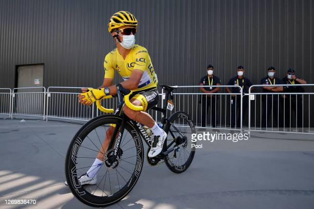 Start / Julian Alaphilippe of France and Team Deceuninck - Quick-Step Yellow Leader Jersey / during the 107th Tour de France 2020, Stage 3 a 198km...
