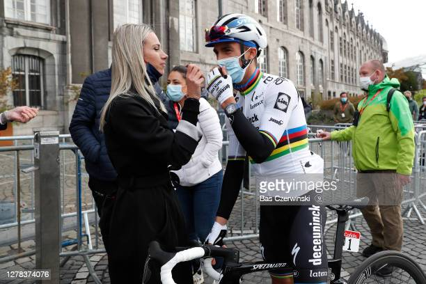Start / Julian Alaphilippe of France and Team Deceuninck - Quick-Step World Champion Jersey / Marion Rousse of France Girlfriend - Ex-Pro rider-TV...