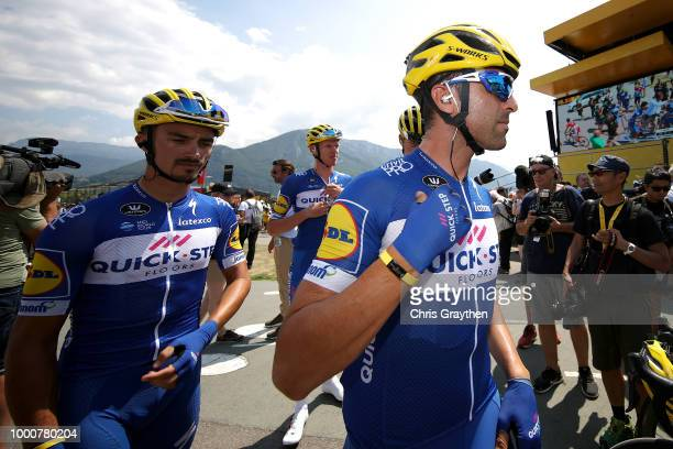 Start / Julian Alaphilippe of France and Team QuickStep Floors / Maximiliano Ariel Richeze of Argentinia and Team QuickStep Floors / during the 105th...