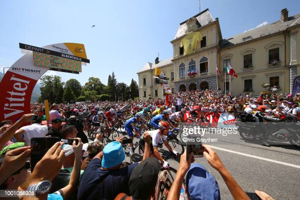 Start / Julian Alaphilippe of France and Team Quick-Step Floors / Greg Van Avermaet of Belgium and BMC Racing Team Yellow Leader Jersey / Mark...