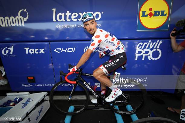 Start / Julian Alaphilippe of France and Team QuickStep Floors Polka dot mountain jersey / Warm up / during the 105th Tour de France 2018 Stage 11 a...