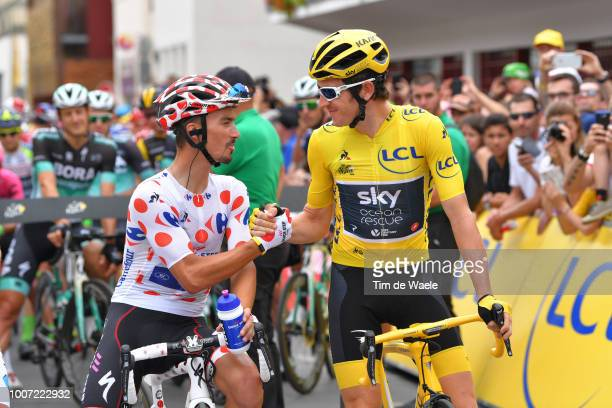 Start / Julian Alaphilippe of France and Team Quick-Step Floors Polka Dot Mountain Jersey / Geraint Thomas of Great Britain and Team Sky Yellow...