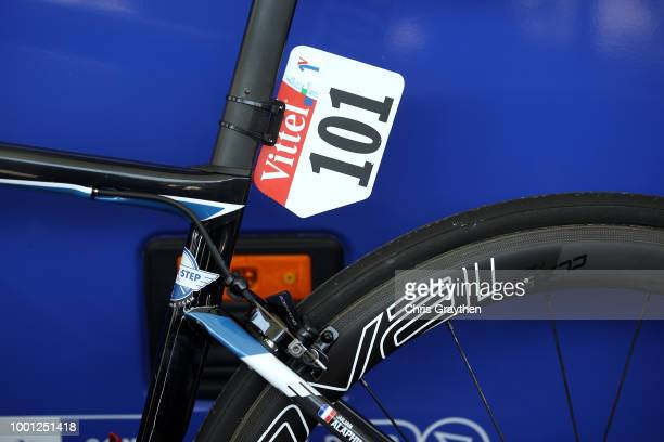 Start / Julian Alaphilippe of France and Team QuickStep Floors Polkadot Mountain Jersey / Number / Specialized Bike / Detail view / during the 105th...