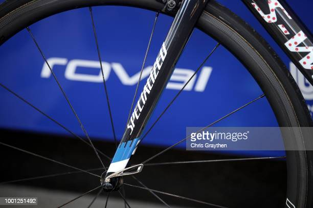 Start / Julian Alaphilippe of France and Team QuickStep Floors Polkadot Mountain Jersey / Fork / Wheel / Specialized Bike / Detail view / during the...