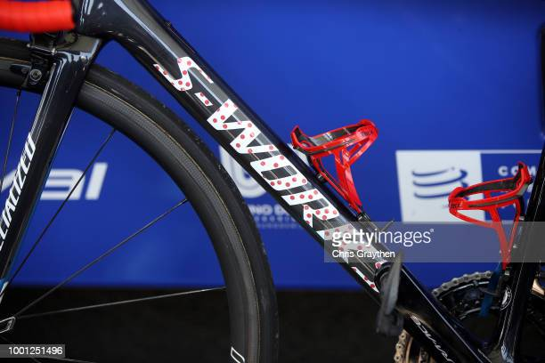 Start / Julian Alaphilippe of France and Team QuickStep Floors Polkadot Mountain Jersey / Top tube / Bottle support / Specialized Bike / Detail view...
