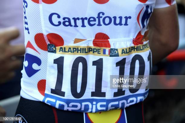 Start / Julian Alaphilippe of France and Team QuickStep Floors Polkadot Mountain Jersey / Detail view / during the 105th Tour de France 2018 Stage 11...
