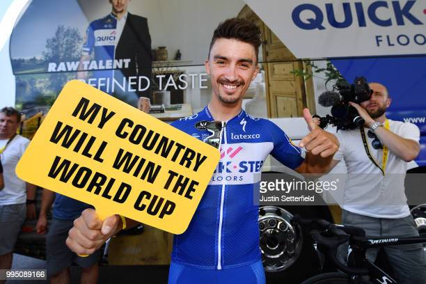 Start / Julian Alaphilippe of France and Team QuickStep Floors supports France in the semifinals of the Soccer World Cup during the 105th Tour de...