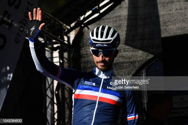 Start / Julian Alaphilippe of France / during the Men Elite Road Race a 258,5km race from Kufstein to Innsbruck 582m at the 91st UCI Road World...