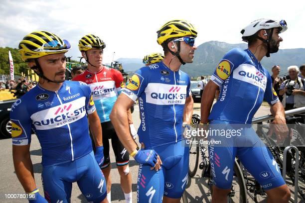 Start / Julian Alaphilippe of France / Maximiliano Ariel Richeze of Argentinia / Fernando Gaviria of Colombia / Bob Jungels of Luxembourg / Team...