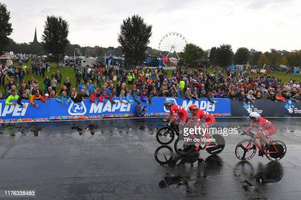 Start / Julie Leth of Denmark / Pernille Mathiesen of Denmark / Louise Hansen of Denmark / Fans / Public / Rain / during the 92nd UCI Road World...