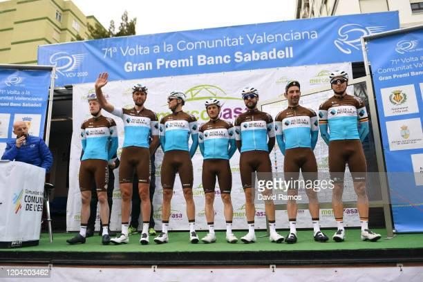Start / Julien Duval of France and Team Ag2R La Mondiale / Mathias Frank of Switzerland and Team Ag2R La Mondiale / Tony Gallopin of France and Team...