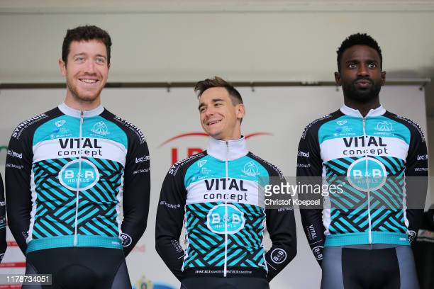 Start / Julien Morice of France and Team Vital Concept BB Hotels / Bryan Coquard of France and Team Vital Concept BB Hotels / Kevin Reza of France...