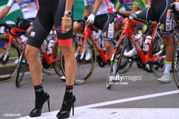 Start / Justine Mattera of United States Model poses at race start / Peloton / Shoe / Detail view / during the 1st Grande Trittico Lombardo 2020 a...