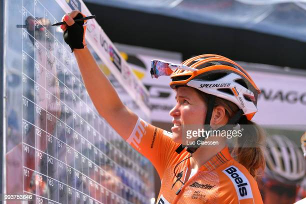 Start / KarolAnn Canuel of Canada and Boels Dolmans Cycling Team / during the 29th Tour of Italy 2018 Women Stage 3 a 132km stage from Corbetta to...