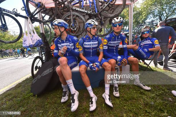 Start / Kasper Asgreen of Denmark and Team Deceuninck Quick-Step / Enric Mas Nicolau of Spain and Team Deceuninck Quick-Step / Mikkel Honore of...