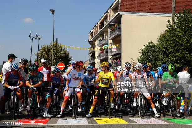 Start / Kasper Asgreen of Denmark and Team Deceuninck QuickStep / Tadej Pogacar of Slovenia and UAE Team Emirates White Best Young Rider Jersey /...