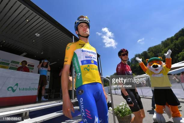Start / Kasper Asgreen of Denmark and Team Deceuninck - Quick-Step Yellow Leader Jersey / Mascot / during the 83rd Tour of Switzerland, Stage 3 a...