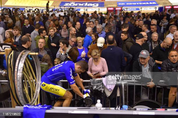 Start / Kenny De Ketele of Belgium and Team Baloise Insurance / Warm-up / Rollers / Fans / Public / during the 79th 6 Days Gent 2019 - Day 1 / Track...