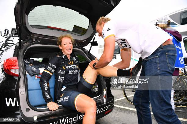 Start / Kirsten Wild of The Netherlands and Team Wiggle High5 / Physiotherapy / during the 5th OVO Energy Women's Tour 2018 Stage 5 a 122km stage...