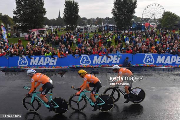 Start / Koen Bouwman of The Netherlands / Bauke Mollema of The Netherlands / Jos Van Emden of The Netherlands / Fans / Public / Rain / during the...