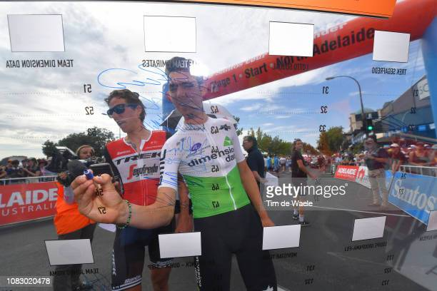 Start / Koen de Kort of The Netherlands and Team TrekSegafredo / Ben O'Connor of Australia and Team Dimension Data / Signing / during the 21st Santos...