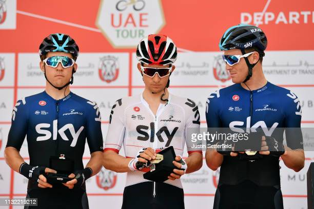 Start / Kristoffer Halvorsen of Norway and Team Sky / Michal Kwiatkowski of Poland and Team Sky / Salvatore Puccio of Italy and Team Sky / during the...