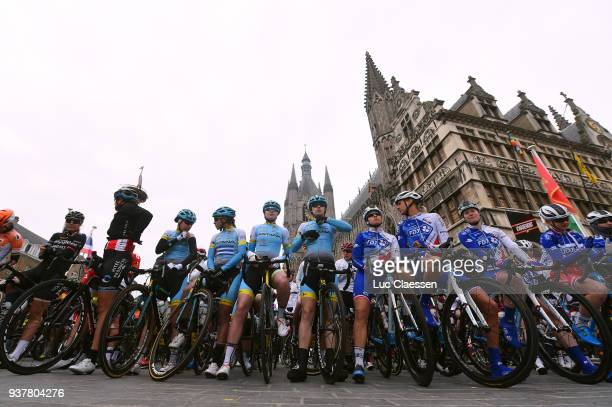 Start / Landscape / Peloton / Ypres / during the 7th Gent-Wevelgem In Flanders Fields 2018 a 142,6km women's race from Deinze to Wevelgem on March...