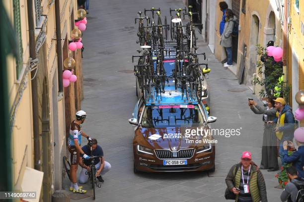 Start / Larry Warbasse of United States and and Team AG2R La Mondiale / Mechanical Problem / AG2R La Mondiale Car / Eddy Merckx-Bike / Orbetello City...