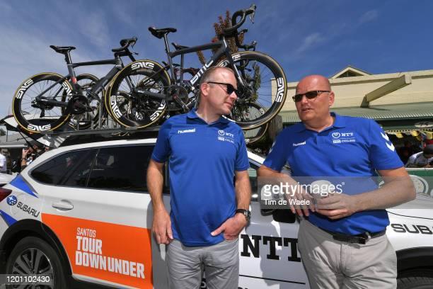 Start / Lars Michaelsen of Denmark Sports director of Team NTT Pro Cycling / Bjarne Riis of Denmark Team Team manager of Team NTT Pro Cycling /...