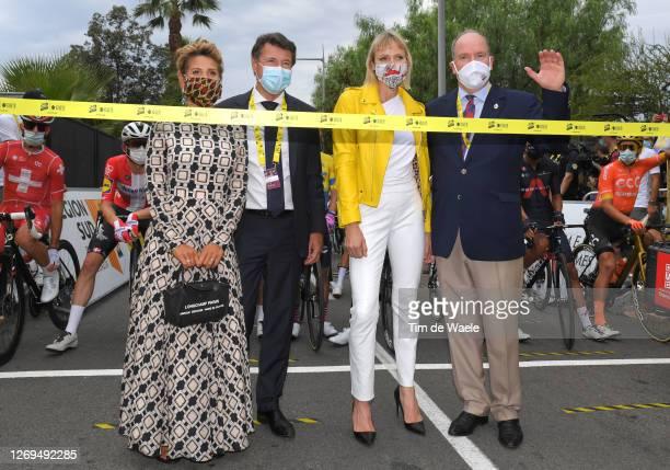 Start / Laura Tenoudji of France / Christian Estrosi of France Mayor of Nice / Charlene of Monaco, Princess of Monaco / Albert II, Prince of Monaco /...