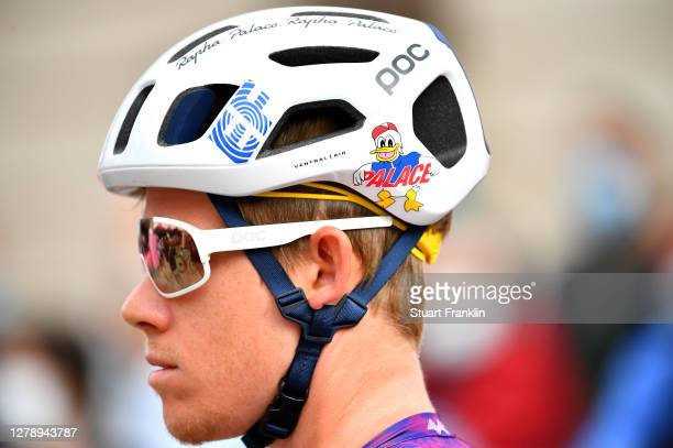Start / Lawson Craddock of The United States and Team EF Pro Cycling / Team EF Pro Cycling special Rapha x Palace Skateboards / Detail view / Poc...