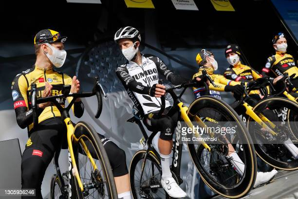 Start / Lennard Hofstede of Netherlands & George Bennett of New Zealand and Team Jumbo - Visma during the 79th Paris - Nice 2021, Stage 2 a 188km...