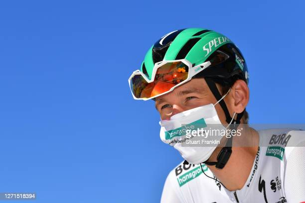 Start / Lennard Kamna of Germany and Team Bora - Hansgrohe Birthday / Mask / Covid safety measures / Team Presentation / during the 107th Tour de...