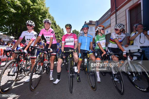 Start / Liane Lippert of Germany and Team Sunweb White Best Young Jersey / / Eleonora van Dijk of The Netherlands and Team Sunweb Pink Leader Jersey...