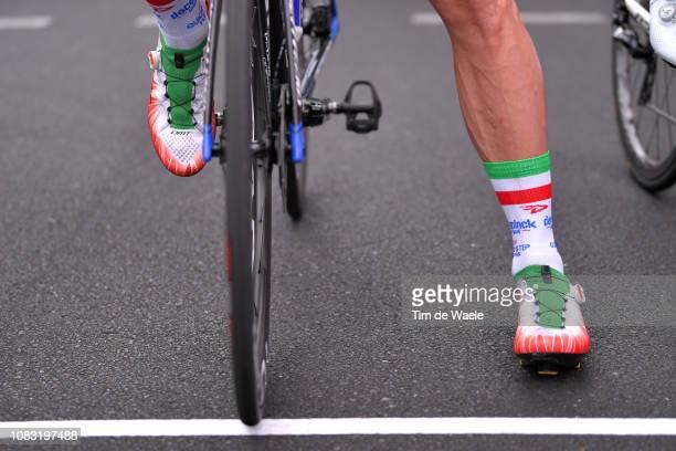 Start Line / Elia Viviani of Italy and Deceuninck QuickStep Team Orange Leader Jersey / Shoes / Detail View / during the 21st Santos Tour Down Under...