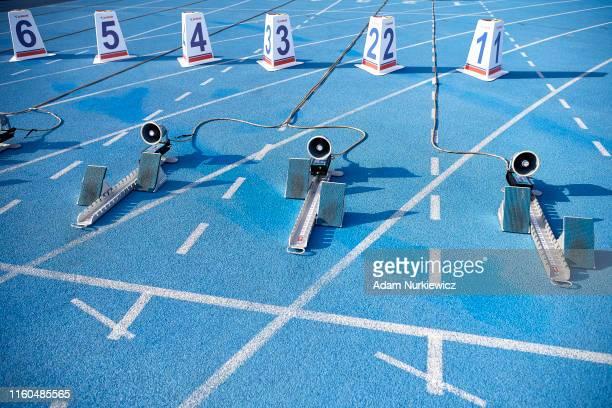 Start line while European Athletics Team Championships Super League Bydgoszcz 2019 Day One at Zawisza Stadium on August 9 2019 in Bydgoszcz Poland