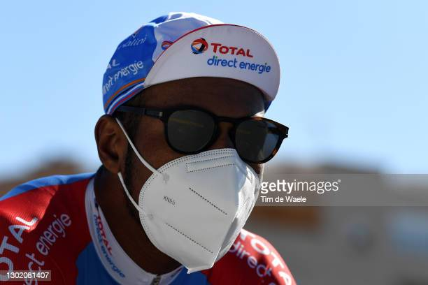 Start / Lorrenzo Manzin of France and Team Total Direct Energie during the 34th Clásica de Almeria 2021 a 183,3km race from Pueblo de Vicar to...
