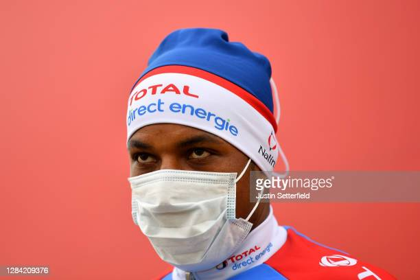 Start / Lorrenzo Manzin of France and Team Total Direct Energie / Mask / Covid Safety Measures / Salamanca City / during the 75th Tour of Spain 2020,...