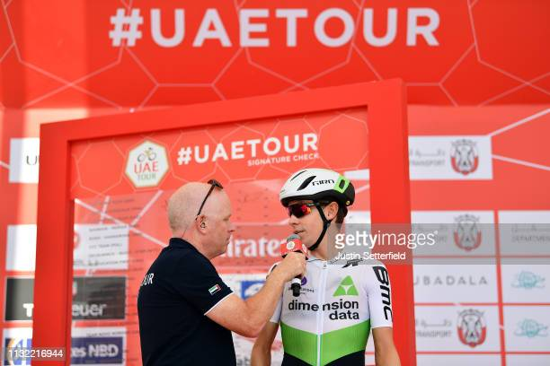 Start / Louis Meintjes of South Africa and Team Dimension Data / during the 5th UAE Tour 2019 Stage 3 a 179km stage from Al Ain to Jebel Hafeet 1024m...