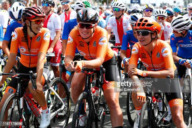 Start / Lucinda Brand of Netherlands / Kirsten Wild of Netherlands / Marianne Vos of Netherlands / during the 25th UEC Road European Championships...