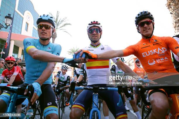 Start / Luis Leon Sanchez Gil of Spain and Astana Pro Team / Alejandro Valverde Belmonte of Spain and Movistar Team / Ruben Fernandez Andujar of...