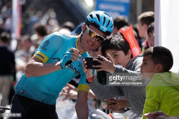 Start / Luis Leon Sanchez of Spain and Astana Pro Team / Fans / Public / Children / Selfie / during the 59th Itzulia-Vuelta Ciclista Pais Vasco 2019,...