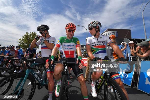Start / Lukas Pöstlberger of Austria and Team BoraHansgrohe / Peter Sagan of Slovakia and Team BoraHansgrohe / Elia Viviani of Italy and Deceuninck...