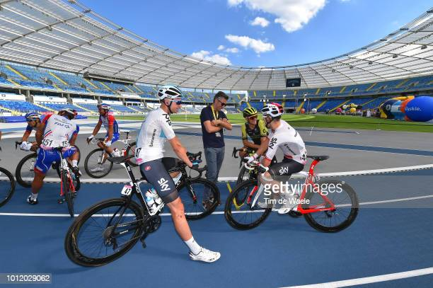 Start / Lukasz Wisniowski of Poland and Team Sky / Alessandro Tegner of Italy QS Marketing and Communication Manager / Matteo Trentin of Italy and...