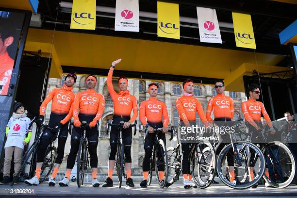 Start / Manuel Amaro Antunes of Portugal and CCC Team / William Barta of The United States and CCC Team / Victor De La Parte of Spain and CCC Team /...