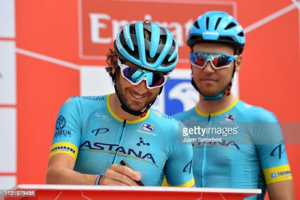 Start / Manuele Boaro of Italy and Astana Pro Team / Sing in / Team Presentation / during the 5th UAE Tour 2019 Stage 2 a 184km stage from Yas Mall...