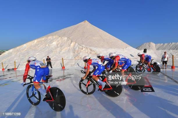 Start / Marc Sarreau of France and Team Groupama-FDJ / Bruno Armirail of France and Team Groupama-FDJ / Mickaël Delage of France and Team...