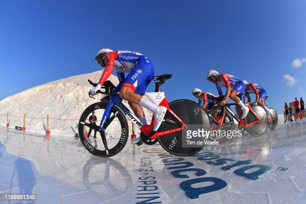 Start / Marc Sarreau of France and Team GroupamaFDJ / Bruno Armirail of France and Team GroupamaFDJ / Mickaël Delage of France and Team GroupamaFDJ /...